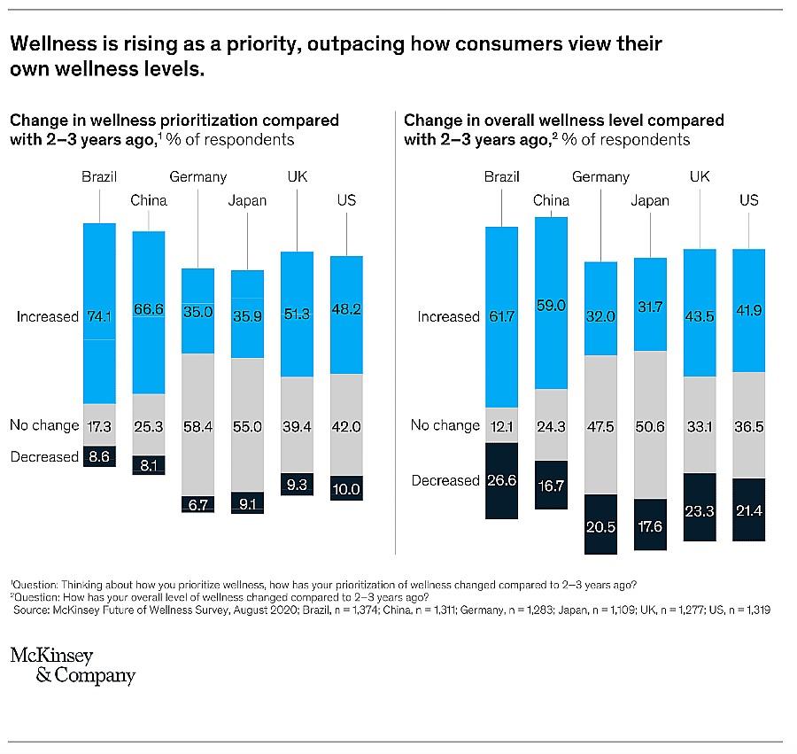 gráfico mostra como os consumidores gastam em produtos e serviços de bem-estar