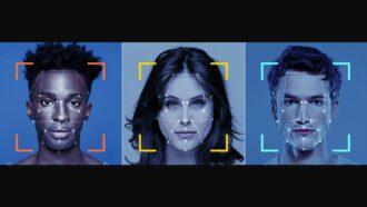 rostos de três pessoas com marcas de que a IA está usando reconhecimento facial