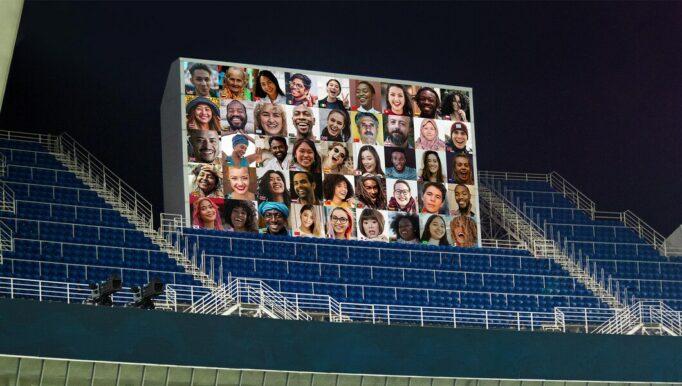 telas foram colocadas nas arenas em Tóquio